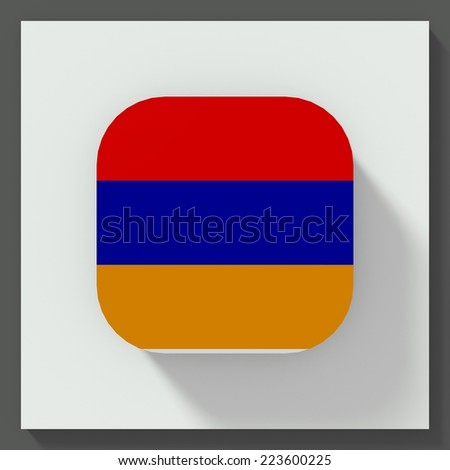 square button flat design with flag of armenia - stock photo
