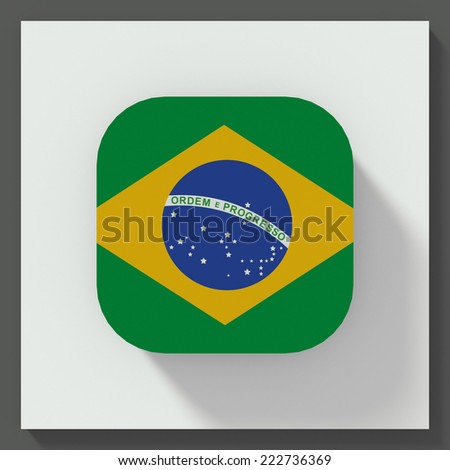 square button flat design with flag of Brazil