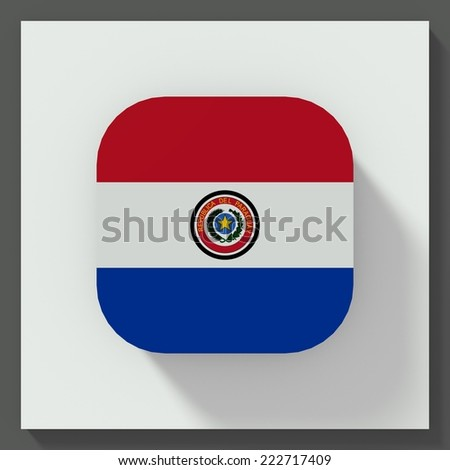 square button flat design with flag of Paraguay - stock photo