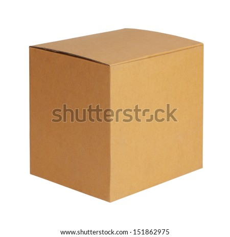 Square cardboard box on a white background