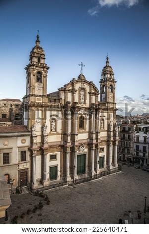 square Church of Saint Dominic, Palermo Italy  - stock photo