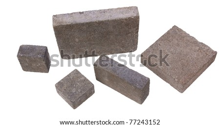 Square concrete construction blocks isolated against background