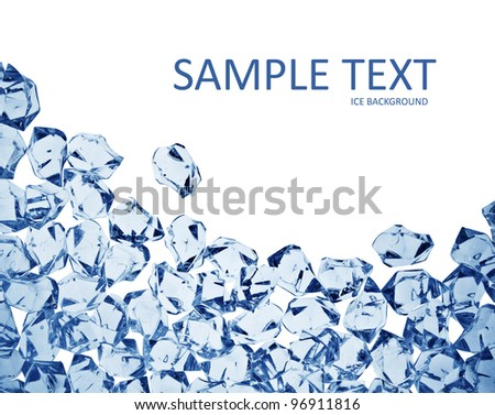 square cool ice background in blue with copyspace - stock photo