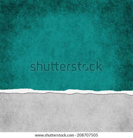 Square Dark Teal Grunge Torn Textured Background with copy space at top and bottom - stock photo