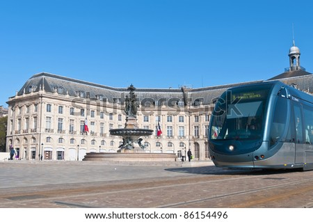 Square de la Bourse fountain located at Bordeaux, France - stock photo