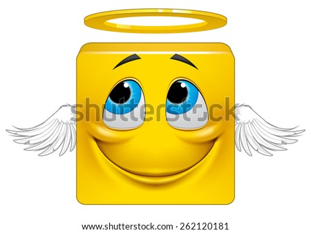 Square emoticon angel - stock photo