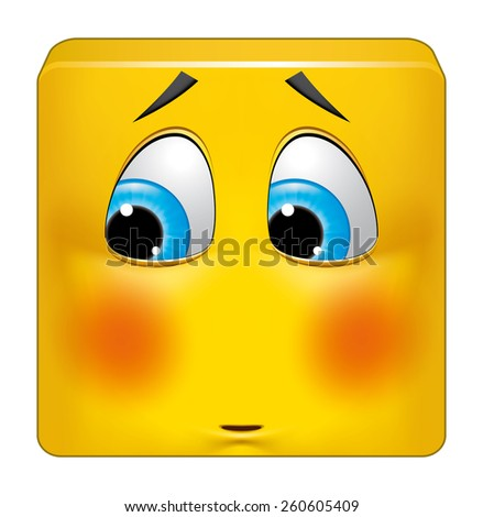 Square emoticon ashamed - stock photo