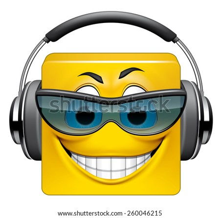 Square emoticon DJ - stock photo