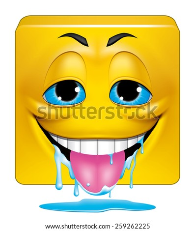 Square emoticon drooling - stock photo