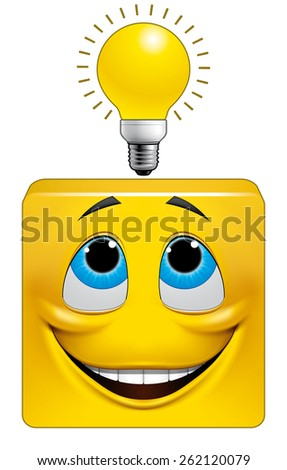 Square emoticon eureka - stock photo