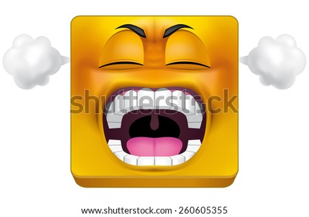 Square emoticon furious - stock photo