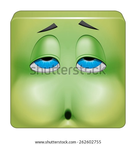 Square emoticon nausea - stock photo
