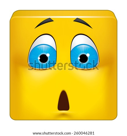 Square emoticon shocked - stock photo