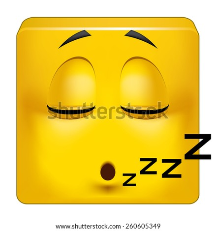 Square emoticon sleeping - stock photo