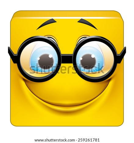 Square emoticon with big glasses - stock photo