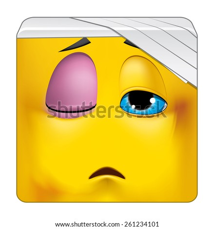 Square emoticon wounded - stock photo