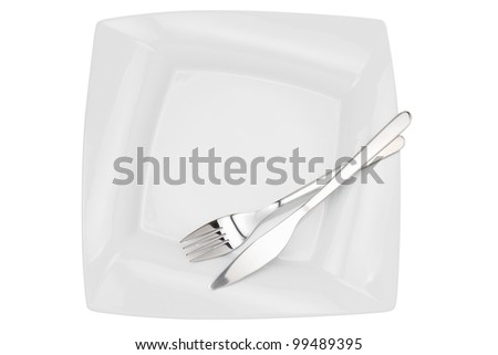 square empty  dish, knife and fork, top view, isolated on white - stock photo