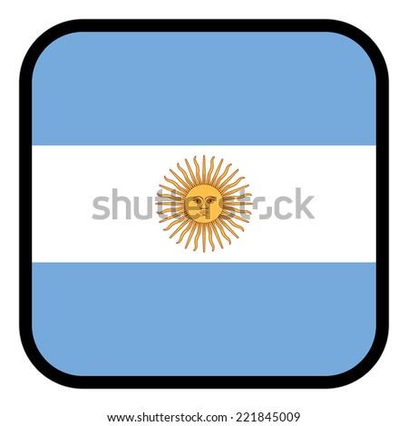 Square flag button series - Argentina - stock photo