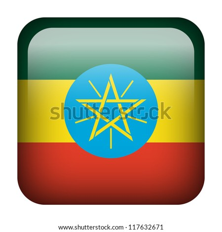 Square flag button series - Ethiopia