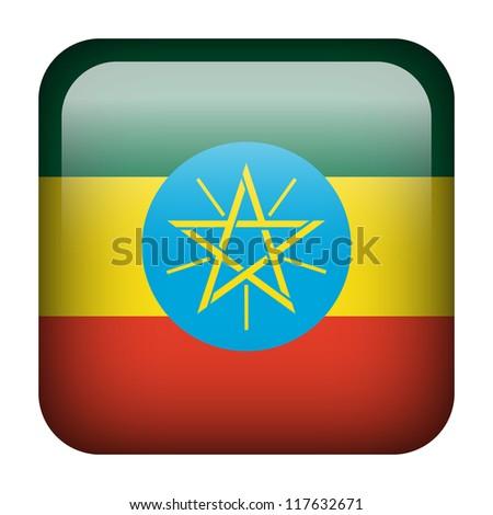 Square flag button series - Ethiopia - stock photo