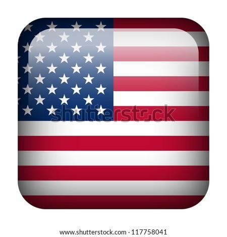 Square flag button series - United States - stock photo
