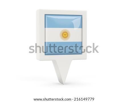 Square flag icon of argentina isolated on white - stock photo