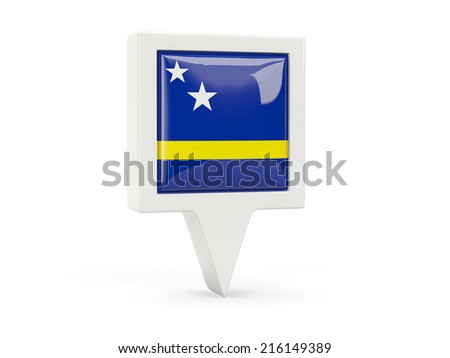 Square flag icon of curacao isolated on white