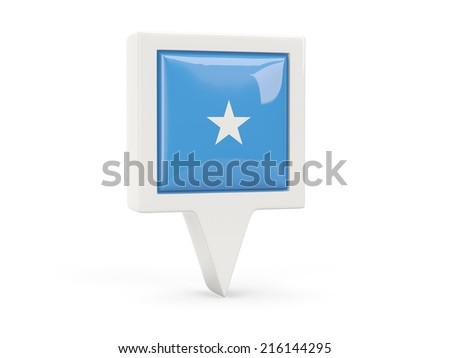 Square flag icon of somalia isolated on white - stock photo