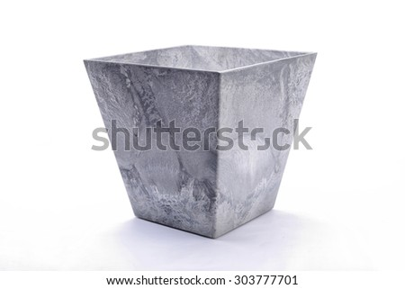 Square flowerpot. Isolated on white background - stock photo