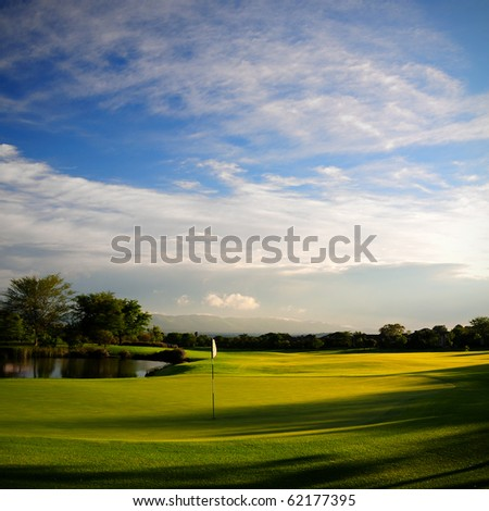 square format color image of golf course fairway