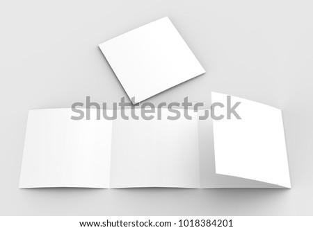 square four folded 4 fold brochure mockupのイラスト素材 1018384201