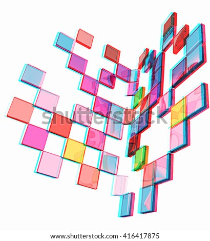 Square frame background - Design Concept . 3D illustration. Anaglyph. View with red/cyan glasses to see in 3D.