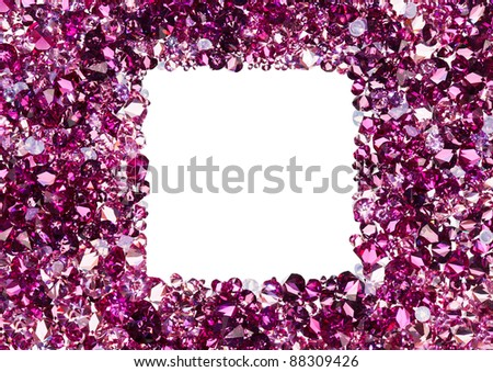 Square frame made from many small ruby diamonds, with copyspace - stock photo