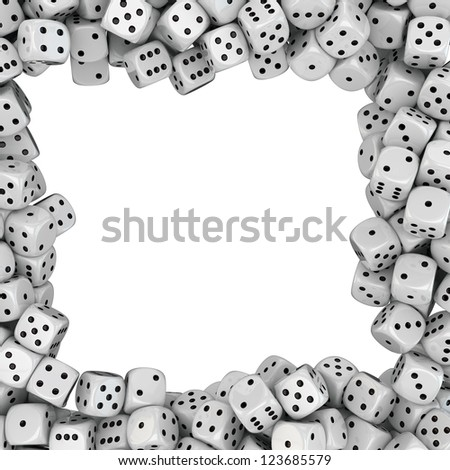 Square frame made from white dices - stock photo