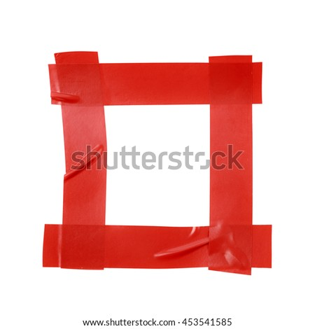 Square frame made of insulating tape pieces isolated over the white background - stock photo