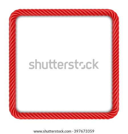 Square frame made up ??of red rope. 3d image