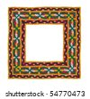 Square frame of embroidered fabric, isolated. Space for your text. This is a composite image. - stock photo