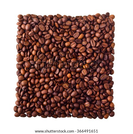 Square from Coffe beans isolated on white background - stock photo