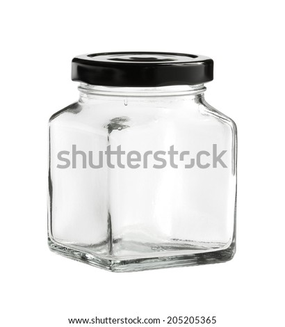 Square glass bottle (with clipping path) isolated on white background