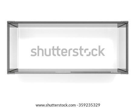 Square glass shelf on white background - stock photo