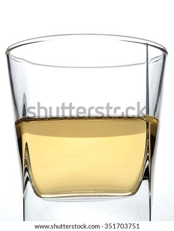 square  glass with rum on white background