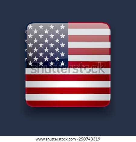 Square glossy high quality icon with national flag of the USA on dark blue background - stock photo