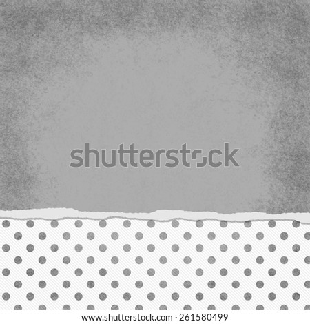Square Gray and White Polka Dot Torn Grunge Textured Background with copy space at top - stock photo