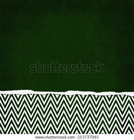 Square Green and White Zigzag Chevron Torn Grunge Textured Background with copy space at top - stock photo