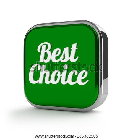 Square green best choice button on white background - stock photo
