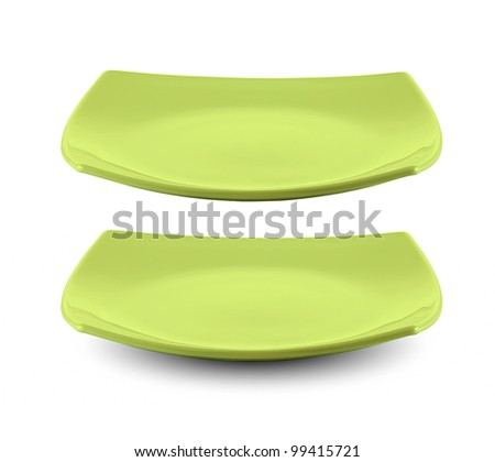 square green plate isolated with clipping path included - stock photo