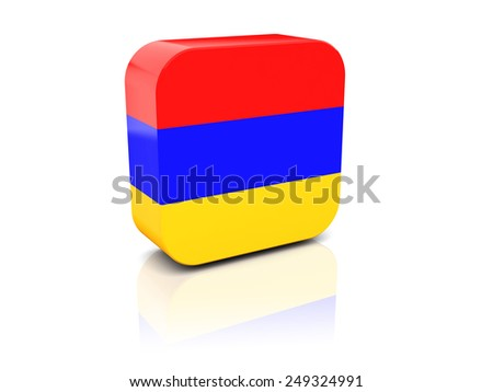 Square icon with flag of armenia with reflection - stock photo