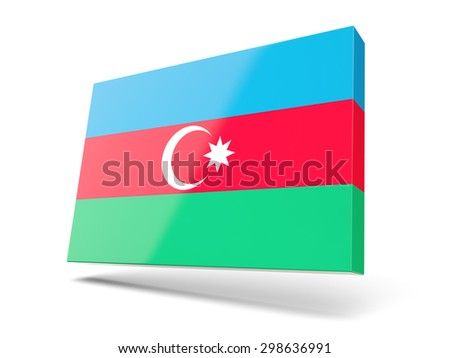 Square icon with flag of azerbaijan isolated on white