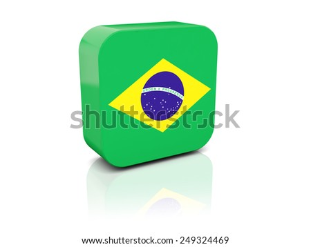 Square icon with flag of brazil with reflection - stock photo