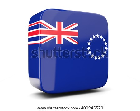 Square icon with flag of cook islands square isolated on white. 3D illustration - stock photo
